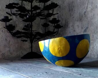 Shades of Blue Paper Mache Bowl with big yellow dots