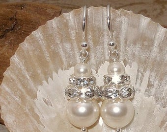 20% OFF Pearl Bridal Wedding Earrings Crystal Accents Ivory Silver Bridesmaids Pearls