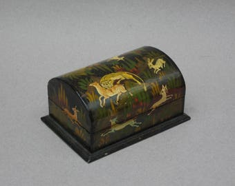Vintage Dome Top Trinket Box Hand Painted Wood Animal Scene Jewelry Box Made in India