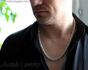 Mens necklace Byzantine necklace chainmaille sterling silver necklace for men - mens jewelry men fashion sexy masculine heavy silver chain