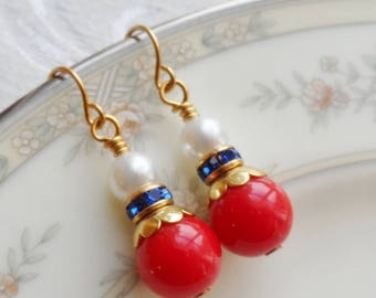 75% Off Sale, Fourth of July, Red, White, and Blue, Faux Pearl,Rhinestone, Gold Accent and Vintage Bead Earrings