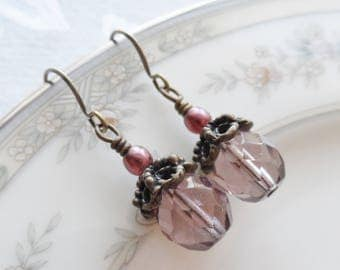 50% Off- Light Plum Czech Glass Earrings, Antique Brass