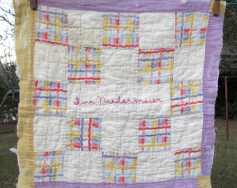 "Antique Quilt Square ""Ina Niedermaier"" - Friendship quilt block - signed quilt - vintage cutter quilt - signature - embroidered - farmhouse"