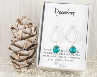 December Birthstone Blue Zircon Silver Triangle Earrings, Long Blue Zircon Silver Earrings, Silver Earrings, December Birthstone Earrings