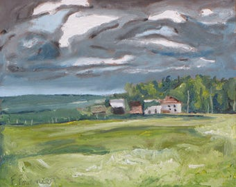 """Small Plein Air Landscape Oil Painting Original Impressionist Eastern Townships  Quebec Canada By Fournier """" The Old Buildings 10 """" x 12 """""""