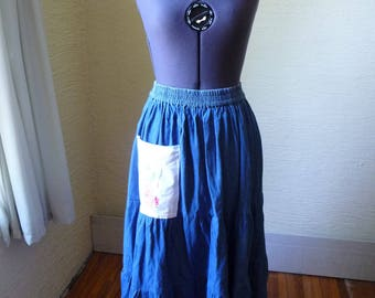 Denim Skirt, Gored Skirt, Handmade Skirt, Upcycled Clothing, Recycled Skirt, Vintage Pocket, Elastic Waist, Long Skirt, Unique Clothing