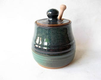 Pottery Honey Pot, Lidded Jar for Honey, Ceramic Honey Jar