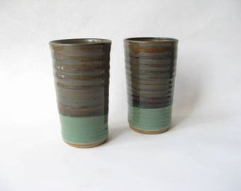 Pottery Tumblers Set of 2, Tall Tumblers, Drinking Vessels, Pottery Glasses