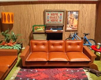 Lundby Brasilia Brown Lounge Sofa Set 1:16 Scale