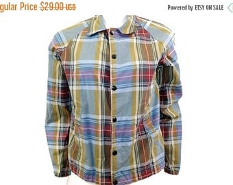 Spring Sale Vintage 60s Plaid Jacket // Retro Buttonup Preppy Jacket // Size S // 142