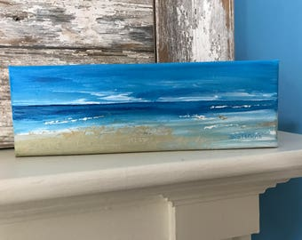 Seascape Painting-Acrylic Painting on Wrapped  Canvas-Jersey Shore-Painting of Beach-Wall Art-Beach House