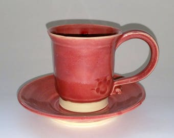 Espresso Cup with Saucer - Cranberry Red - Cup and Saucer - Wheel Thrown Pottery - aka Demitasse or Half Cup