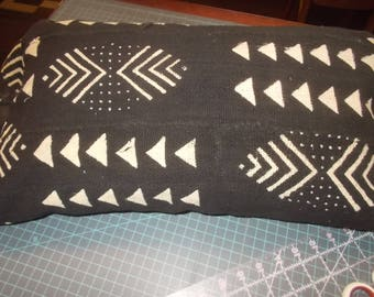 African Mud Cloth lumbar pillow cover Black with off white Arrows and designs