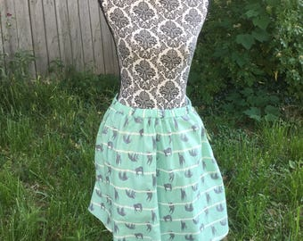 """Elastic Waist Sloth Print Skirt With Pockets - Size 30"""" to 40"""""""