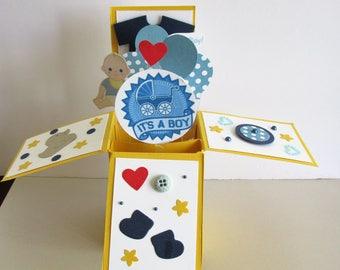 Gender Reveal Its A Boy Card In A Box Pop Up Handmade Card