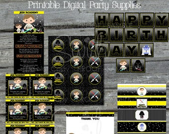 Space Wars Birthday Party Printable Package   Digital Star burst Printables   Invite Thank Cupcake Favors   Water bottle   Digital Download