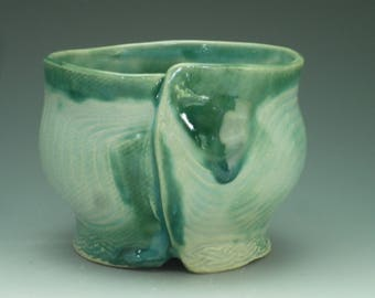 Stoneware Rice Bowl, green , incised texture, multiple glazes, c. 6 electric fired