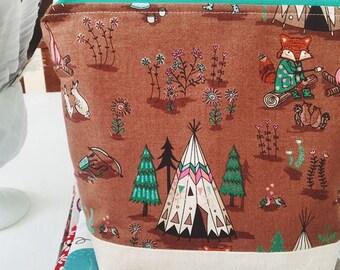 Little fox project bag/ knitting project bag/ craft bag