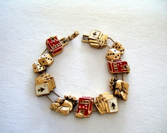 Chunky Slide Bracelet Las Vegas Gambling Charm Bracelet Mid Century Fashion Accessory Statement Gold Plated Gold Bracelet Cool Gift for Her