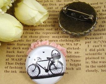SALE - 30% OFF 4pcs  25mm Handmade Glass Cabochons - Bike Collection BCH608B
