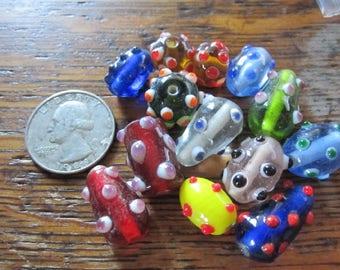 Mixed Lot ~ Lampwork Glass Beads ~ Craft Supplies ~ Jewelry Beads ~ Large Glass Beads ~ Focal Beads ~ Mixed Lampwork Bead Lot ~ 12 Pieces