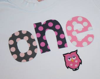 Girls Owls First Birthday ONE shirt - 18 month short sleeve white tshirt - lettering in pinkand gray polkadots