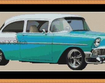 Bel Air 56 cross stitch pattern - modern counted cross stitch pattern xstitch classic car