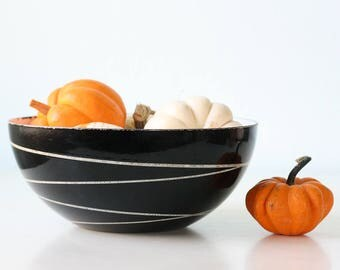 "Vintage Cathrineholm Bowl, Saturn Pattern, Black and White, 9 1/2"" diameter"