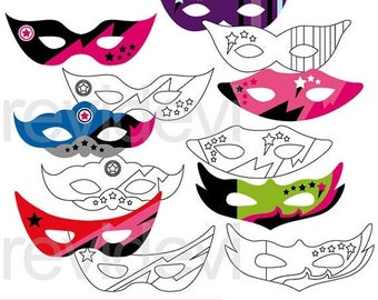 35% OFF SALE Girly Superhero Masks clipart - mask clip art, digital images, commercial use, instant download