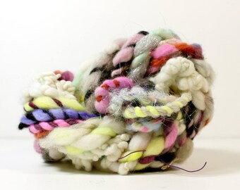 3ply little and ropey .. art yarn, hand spun yarn, handspun art yarn, wool yarn, boucle yarn, bulky yarn, handspun wool yarn,