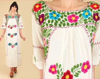 ViNtAgE 70's Mexican Embroidered RAINBOW Floral Maxi Dress // Gauze Cotton Crochet // Handmade Hippie Boho Bohemian Free Size S M L