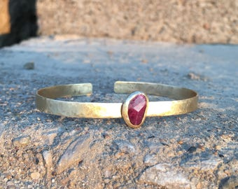 Faceted Ruby Cuff Bracelet