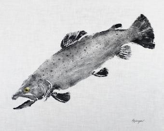 ORIGINAL 19 inch Brown Trout GYOTAKU Fish Rubbing Art Lake House Decor on Best White cloth