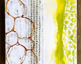 original encaustic painting-  Lime Water