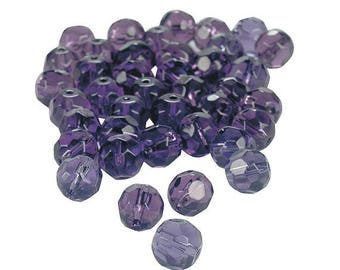 Amethyst Cut Crystal Round Beads, 8mm with 1mm hole, pack of 48