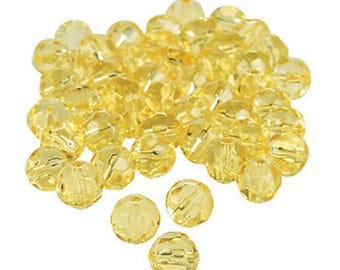 Canary Yellow Cut Crystal Round Beads, 8mm with 1mm hole, pack of 48