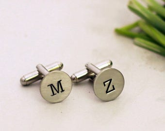 Custom Initial Cuff Links, Personalized Cuff Links, Wedding Cuff Links, Typewriter Font