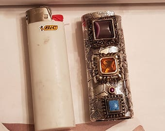 Vintage Stone Cigarette Lighter Cover/ Bic Lighter Sleeve