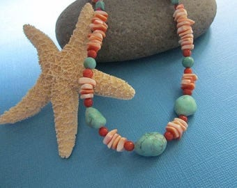 Turquoise Coral and Shell Necklace