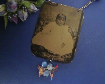 Antique Tintype Necklace Assemblage. Little Miss Birdie