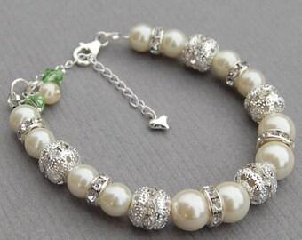Birthstone Jewelry, Personalized Birthday Bracelet, Bridesmaid Gifts, August Birthstone, Birthstone Gift, Bridesmaid Birthstone