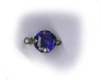 ANTIQUE CLASP a small classic vintage czech clasp in COBALT blue purple, very dainty, silvertone one strand clasp angular shape