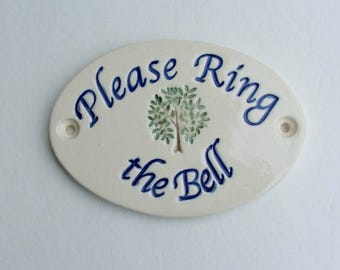 "Ceramic Door Plaque, ""Please Ring the Bell"" Porcelain"