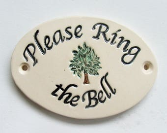 "Ceramic Door Plaque, ""Please Ring the Bell"" Tree of Life"
