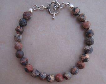 leopardskin jasper sterling silver bracelet