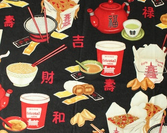 Chopsticks Please fabric by Dan Morris for Robert Kaufman 8341, chinese food, takeout