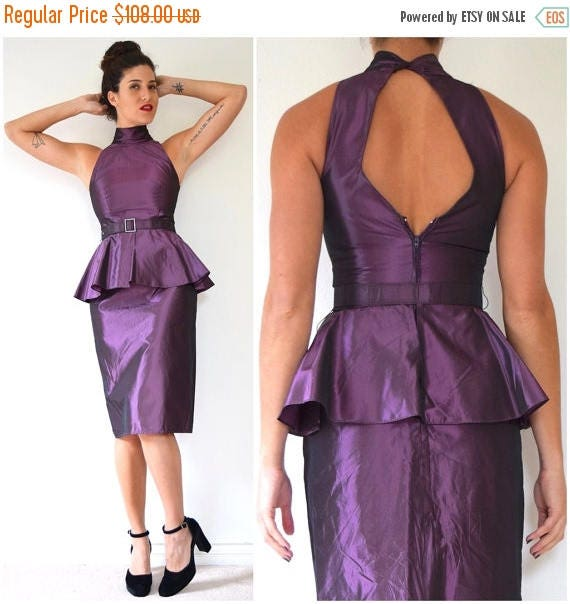 SUMMER SALE/ 30% off Vintage 80s Iridescent Mauve Taffeta Cocktail Dress with Cut Out Back and Peplum Waist (size xs, small)