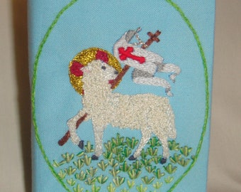 Embroidered Mini Bible Lamb of God Entirely Handmade in Blue inv1838*