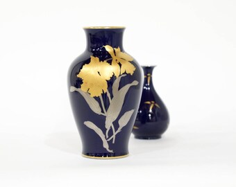 Blue Japanese OKURA vase, gold silver flower decor, Noritake Okura China Porcelain
