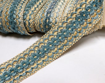 Vintage French Passementerie Trim - braid trim in Blue and Gold - vintage ribbon - trim by the yard